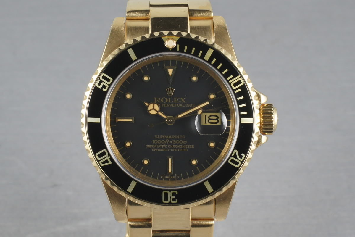 1980 Submariner 18K  16808 Black Nipple Dial with RSC Service Papers photo, #0