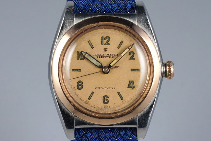 1944 Rolex Two Tone RG Bubble Back 3133 photo