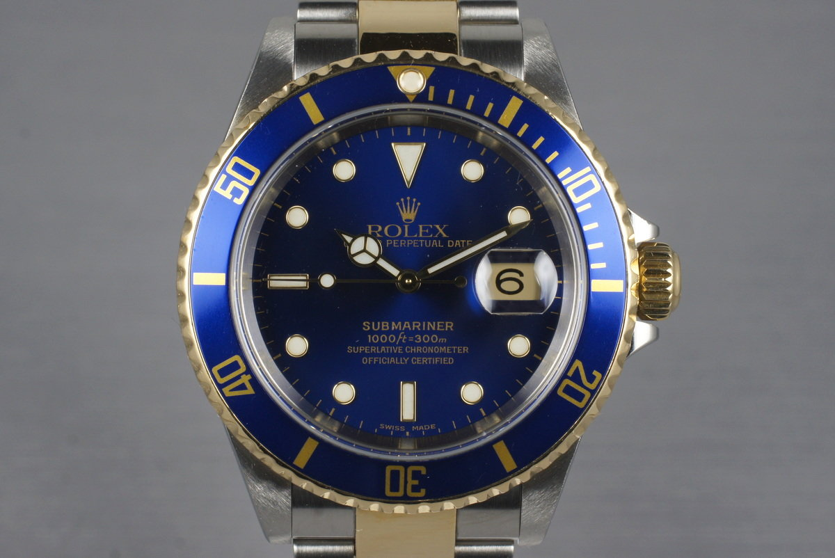 2003 Rolex Two Tone Blue Submariner 16613 with Box and Papers photo, #0