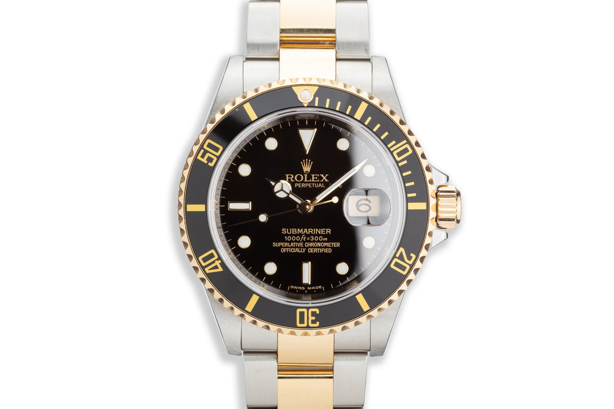 2007 Rolex Two Tone Submariner 16613LN with Box and Card Bezel Engraved photo, #0