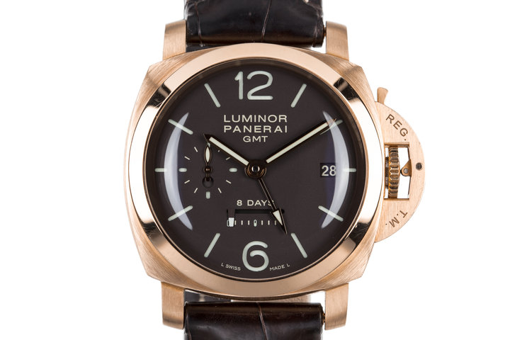 2007 Panerai Rose Gold Luminor 1950 8 Day GMT PAM289 with Box and Papers photo