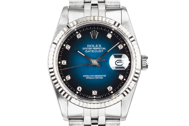 "1990 Rolex DateJust 16234G with ""Spidering"" Blue Vignette Diamond Dial photo"
