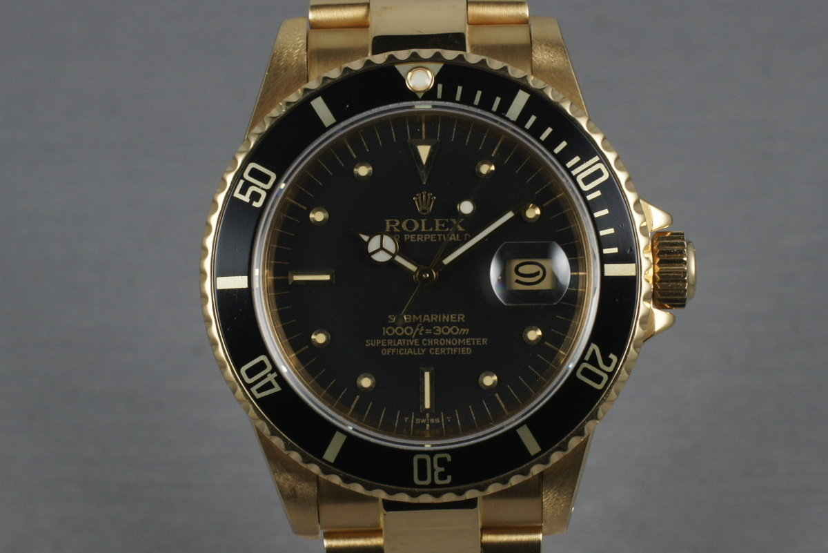 Submariner 18K  16808 Black Nipple Dial with Box and Papers photo, #0