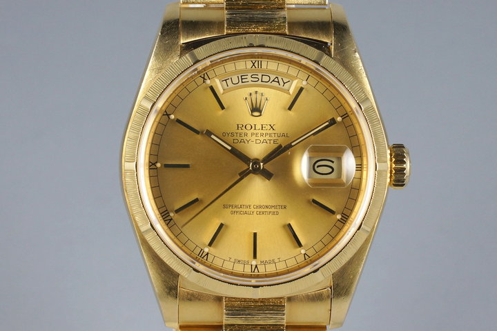 1985 Rolex YG Bark Day Date 18078 Champagne Dial with Box and Papers photo