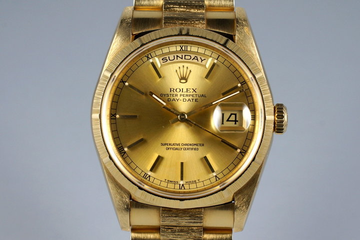 1990 Rolex YG Bark Day-Date 18248 with Box and Papers photo
