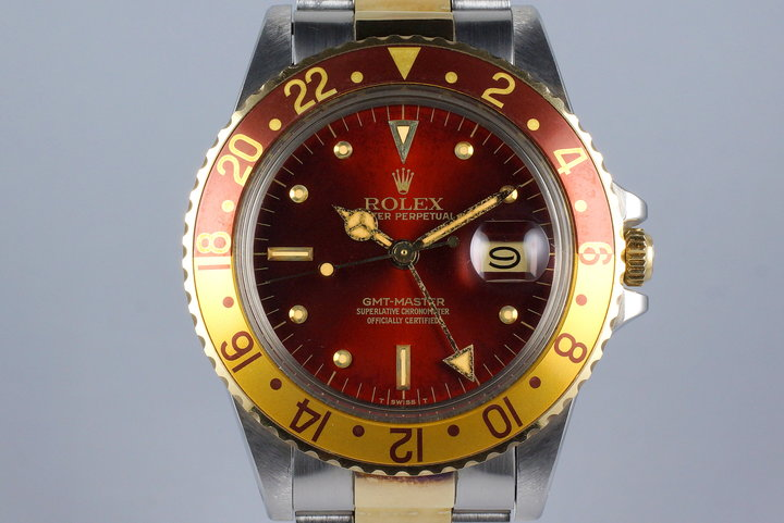 1980 Rolex Two Tone GMT 16753 Root Beer 'Red' Dial photo