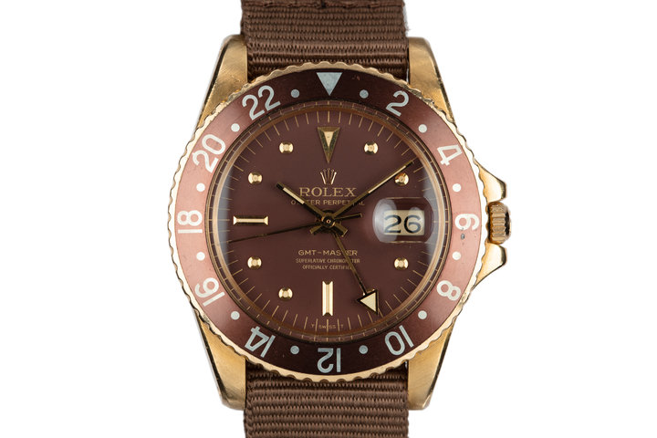 1967 18K YG Rolex GMT-Master 1675 with Brown Nipple Dial and Concorde Hands photo
