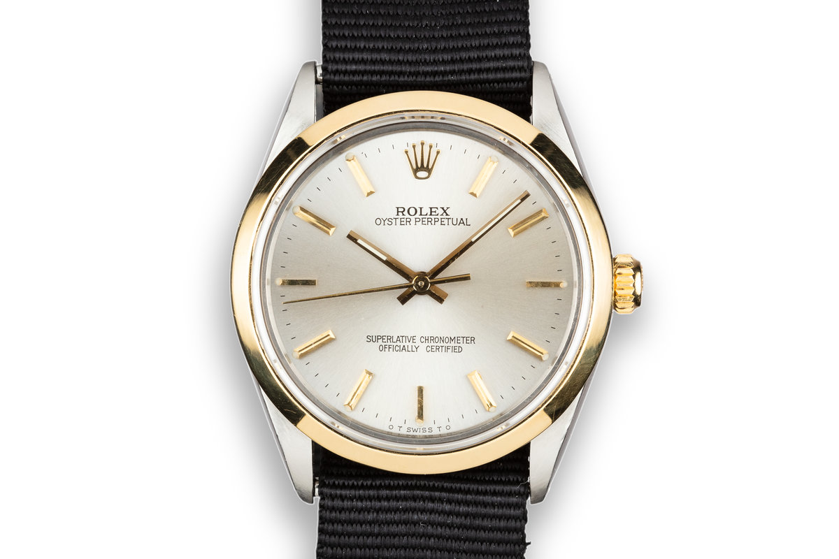 1987 Rolex Two-Tone Oyster Perpetual 1002 with Silver Sigma Dial photo, #0