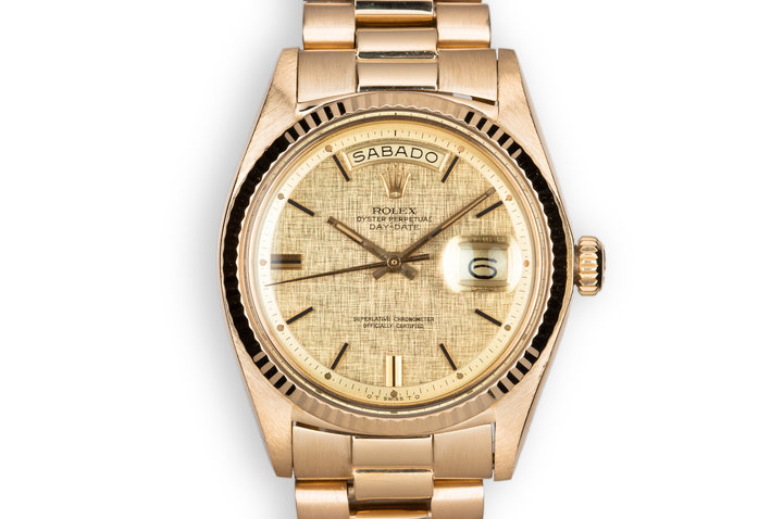 1972 18K YG Rolex Day-Date 1803 Linen Sigma Dial photo