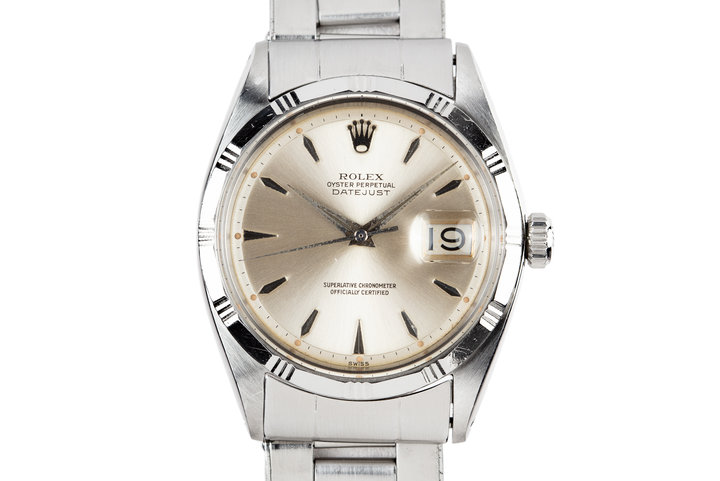 1960 Rolex DateJust 1603 SWISS Only Silver Dial with Rare Engine Turned Bezel photo