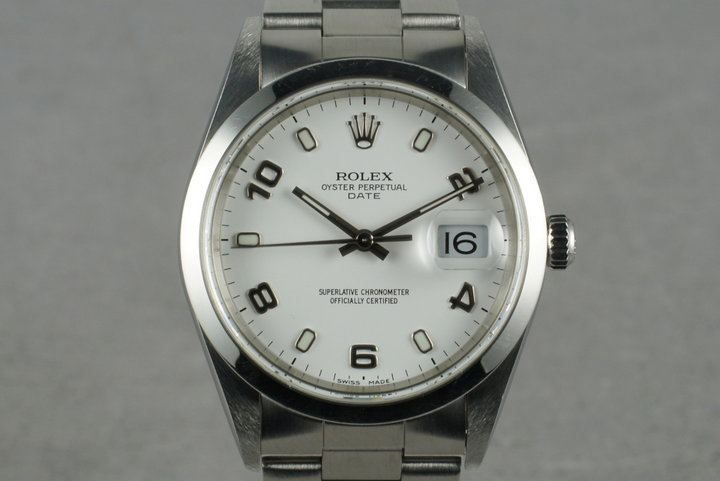 2000 Rolex White Arabic Dial Date 15200 With Box & Papers photo