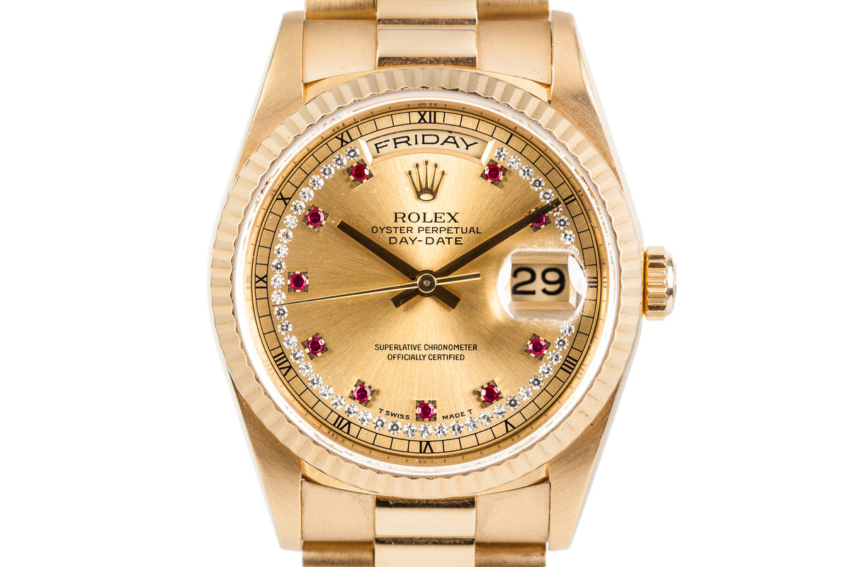 1995 Rolex Day-Date 18238 with Diamond String and Ruby Dial photo, #0