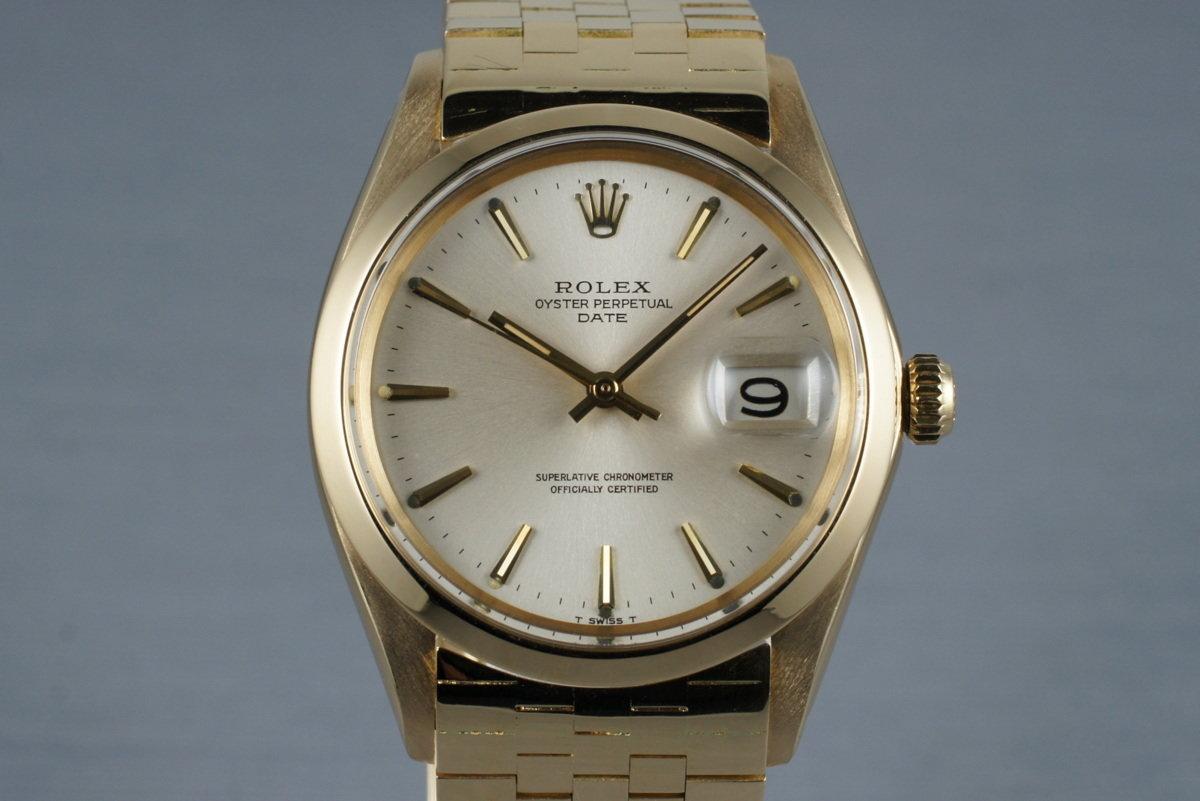 1968 Rolex 18K YG Date 1500 with Brick Bracelet photo, #0