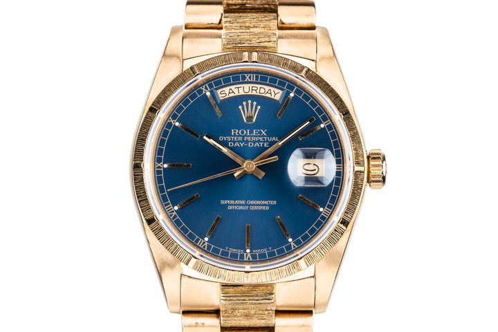 1986 Rolex 18K YG Bark Day-Date 18078 Blue Dial photo