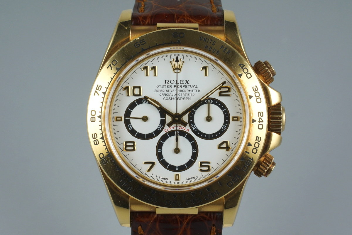 1995 Rolex YG Zenith Daytona 16518 White Arabic Dial with Box and Papers photo, #0