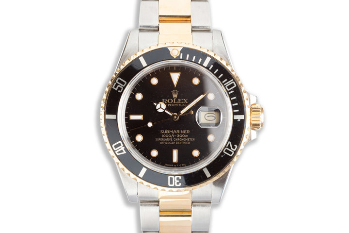 1987 Rolex 18k & Stainless Submariner 16613 Black Dial with Box & Service Papers photo