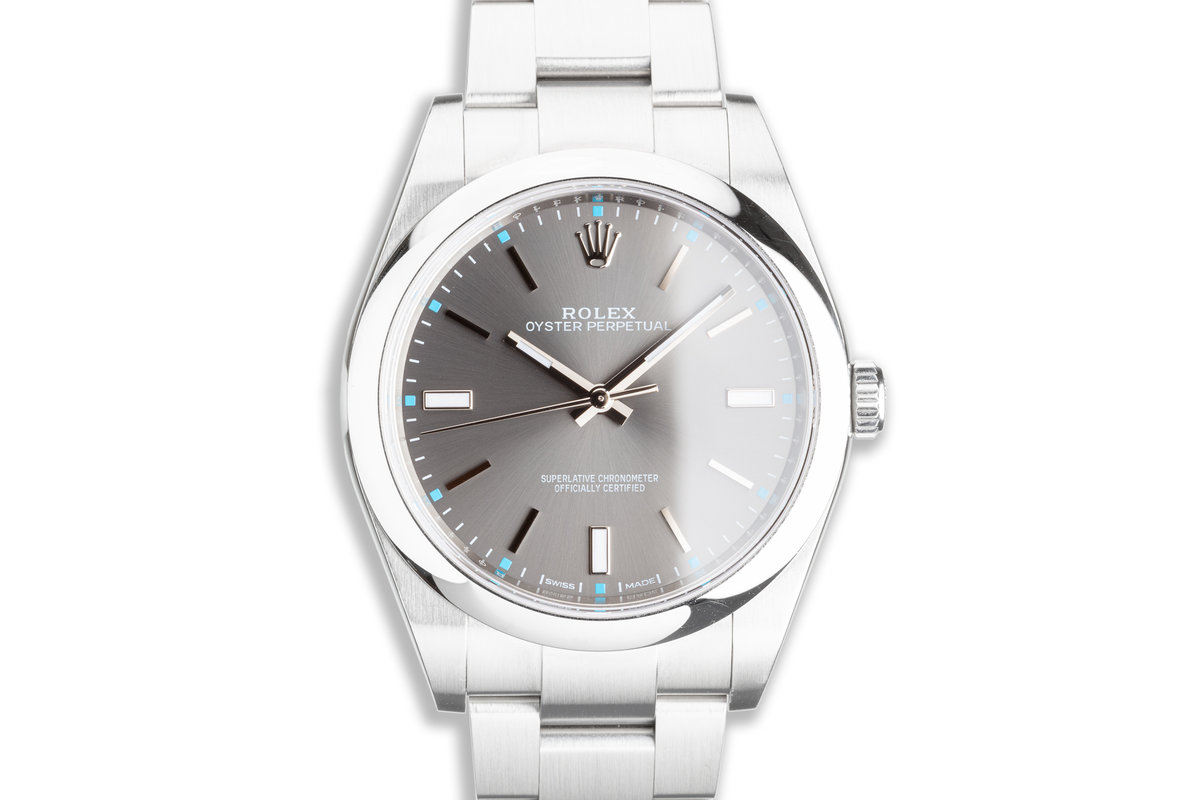 2016 Rolex Oyster Perpetual 39mm 114300 Dark Rhodium Dial with Card photo, #0