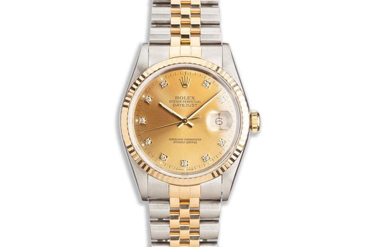1993 Rolex Two-Tone DateJust 16233 Gold Diamond Dial photo, #0