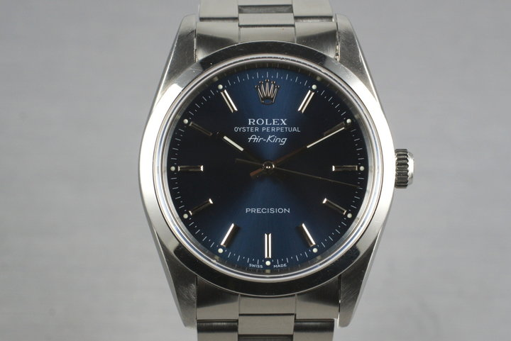 1991 Rolex Air King 14000 Blue Dial with Box and Papers photo