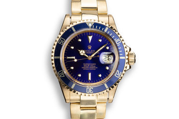 1972 Rolex 18K YG Submariner 1680 Blue Nipple Dial photo