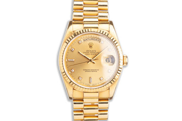1993 Rolex 18K YG Day-Date 18238 with Gold Diamond Marker Dial photo