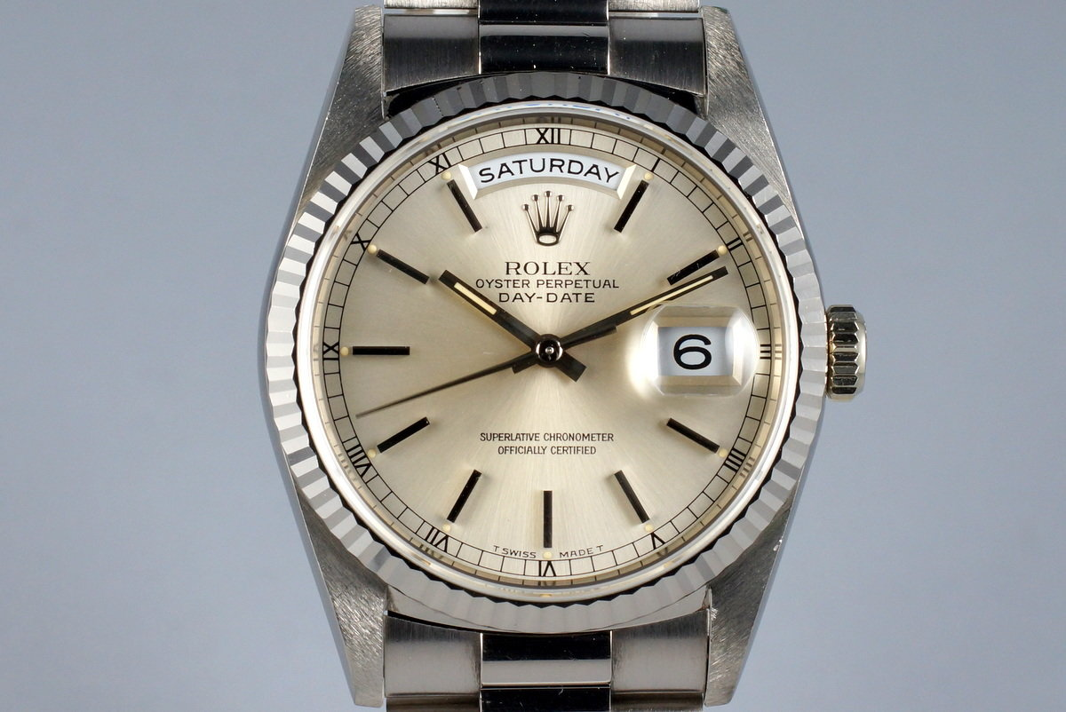 1995 Rolex WG Day-Date 18239 Silver Dial photo, #0