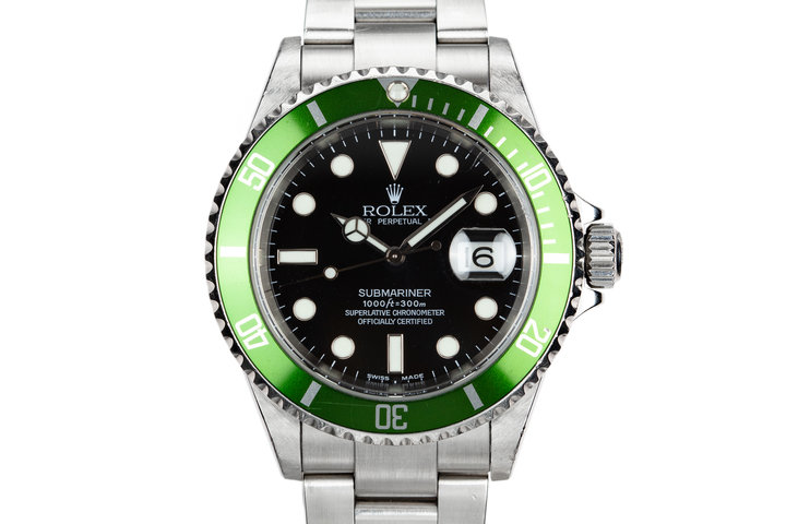 2003 Rolex Anniversary Green Submariner 16610LV Mark 1 Dial with Flat 4 Bezel photo