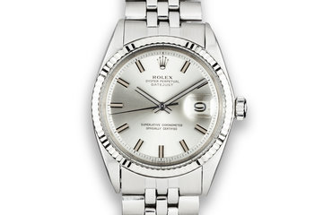 1972 Rolex DateJust 1601 with No Lume Silver Wideboy Dial photo
