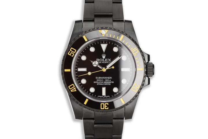 Rolex Submariner 114060 with Custom Black PVD Coating & Yellow Accents photo