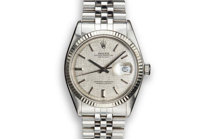 1973 Rolex DateJust 1601 with No Lume Silver Linen Dial photo