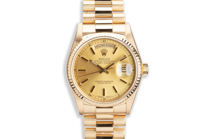 1984 Rolex 18K YG Day-Date 18038 Gold Dial w/ Warranty Papers photo