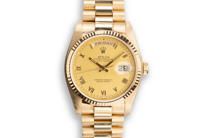 "1984 Rolex 18K Day-Date 18038 with Matte Champagne ""Mustard Tiger"" Dial photo"