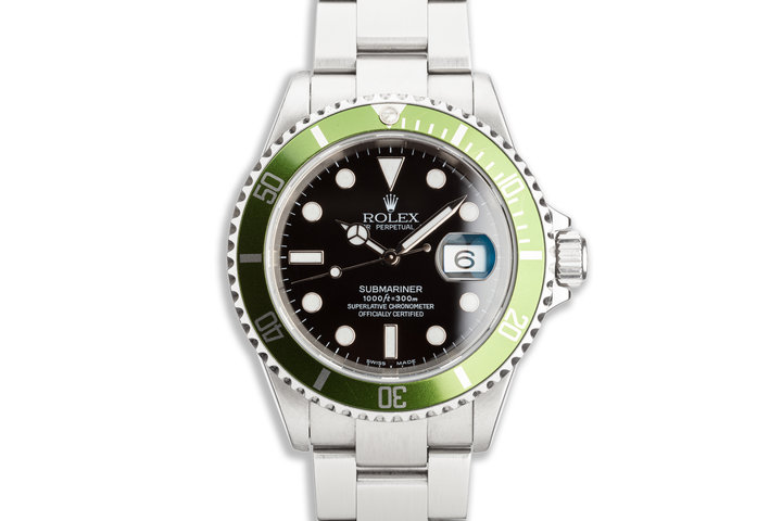 2003 Rolex Green Submariner 16610T Mark 1 Dial Flat 4 Bezel photo