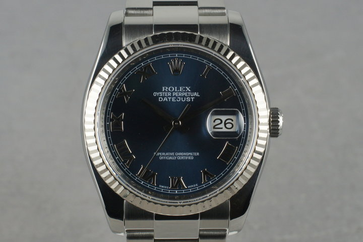 2006 Rolex DateJust 116234 with Blue Roman Numeral Dial Box & Papers photo