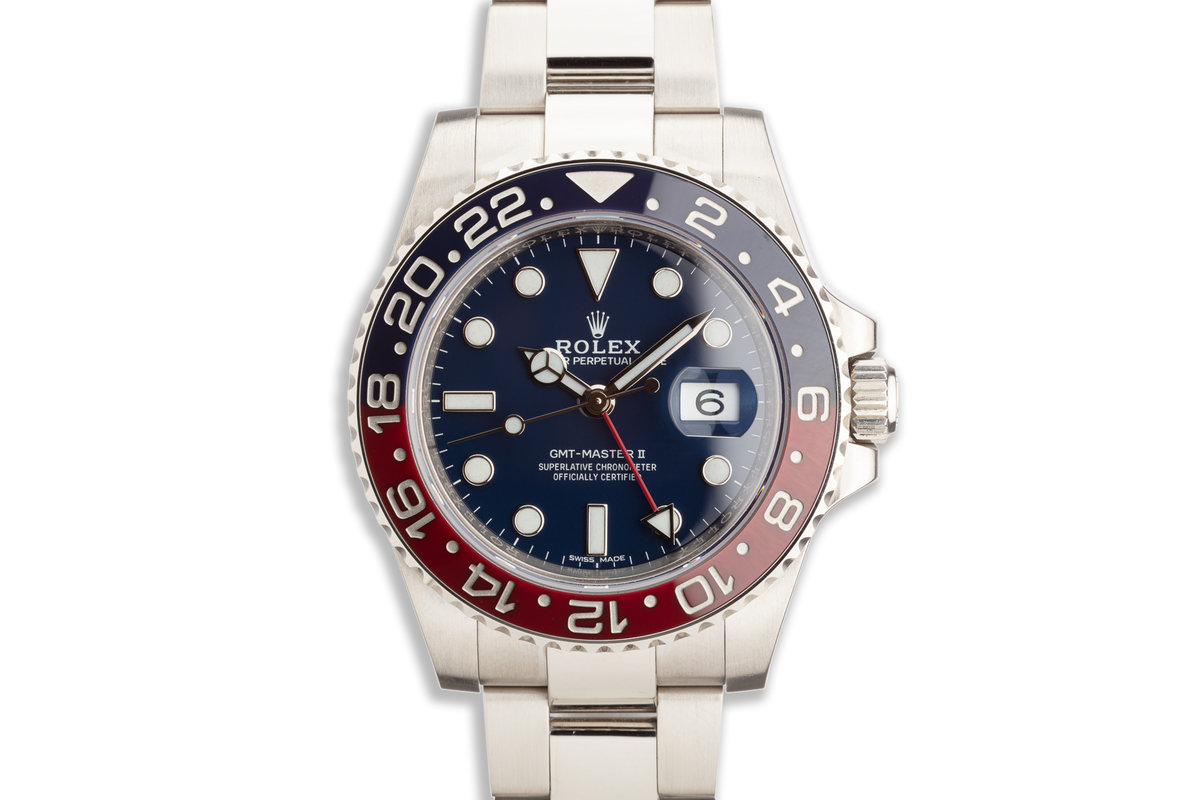 2016 Rolex 18K WG GMT MASTER II 116719BLRO with Box Card & Service Papers photo, #0