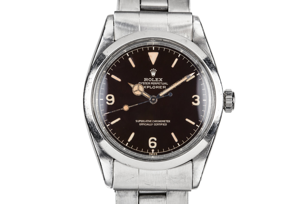 1960 Rolex Gilt Explorer I 1016 with Glossy Dark Brown Chapter Ring Dial photo, #0