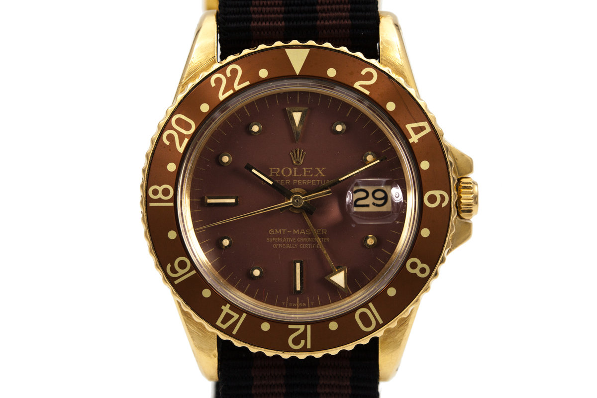 1970 Rolex 18K YG GMT 1675 Brown Dial photo, #0