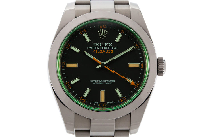 2013 Rolex Milgauss Green 116400V with Box and Papers photo