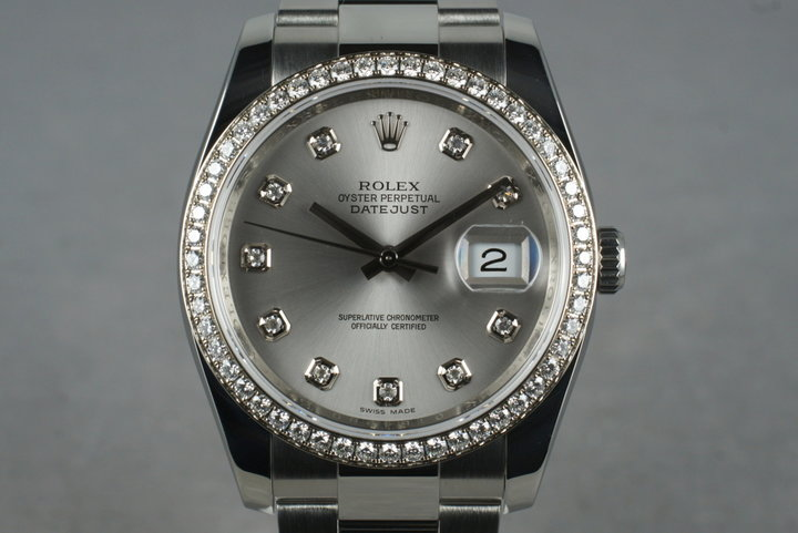 2010 Rolex DateJust 116244 Diamond Dial and Bezel with Box and Papers photo