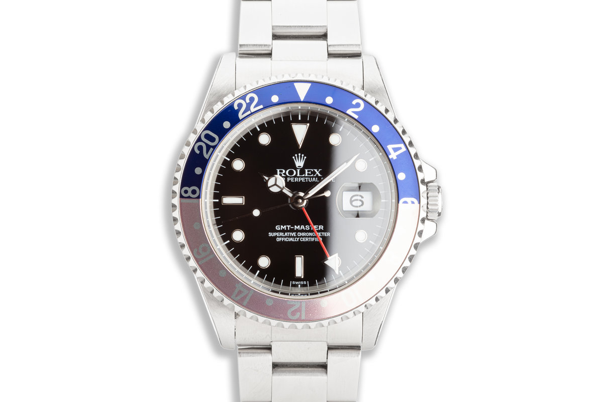 """1999 Unpolished Rolex GMT-Master 16700 """"Swiss Only"""" """"Pepsi"""" with Box, Papers and Service Card photo, #0"""