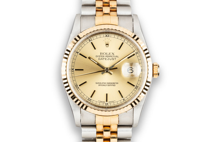 1995 Rolex Two-Tone DateJust 16233 Champagne Dial with Box and Papers photo