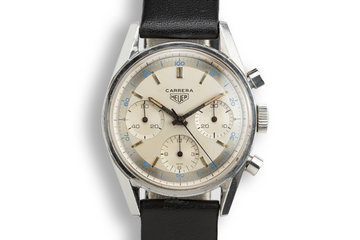 """Heuer Carrera 2447 D with Early """"Pie Pan"""" Dial and Sun Stamp Buckle photo"""
