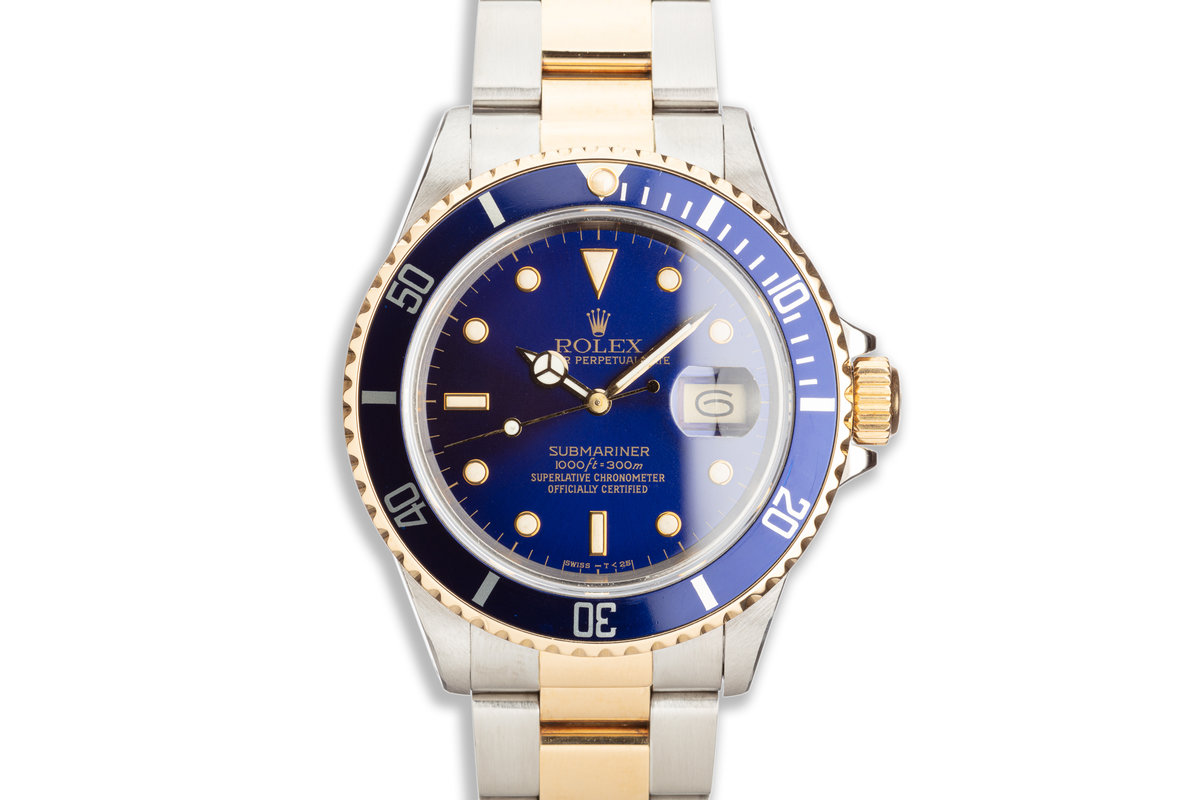 1988 Rolex Two-Tone Submariner 16803 Blue Dial with Box & Papers photo, #0