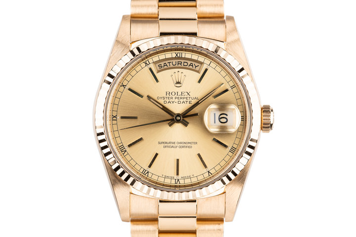 1995 Rolex 18K Day-Date 18238 with Service Papers photo