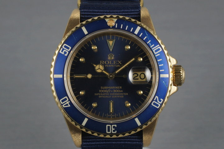 1980 Rolex 18K Submariner 16808 with Blue Nipple Dial photo
