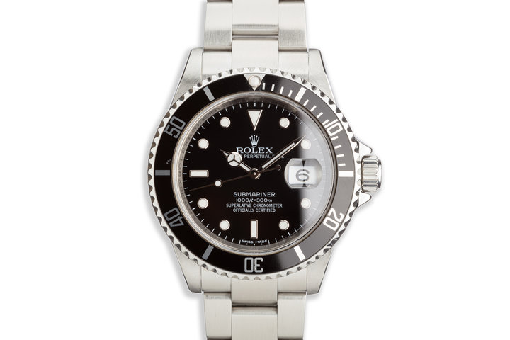 2008 Bezel Engraved Rolex Submariner 16610 Polished Once photo