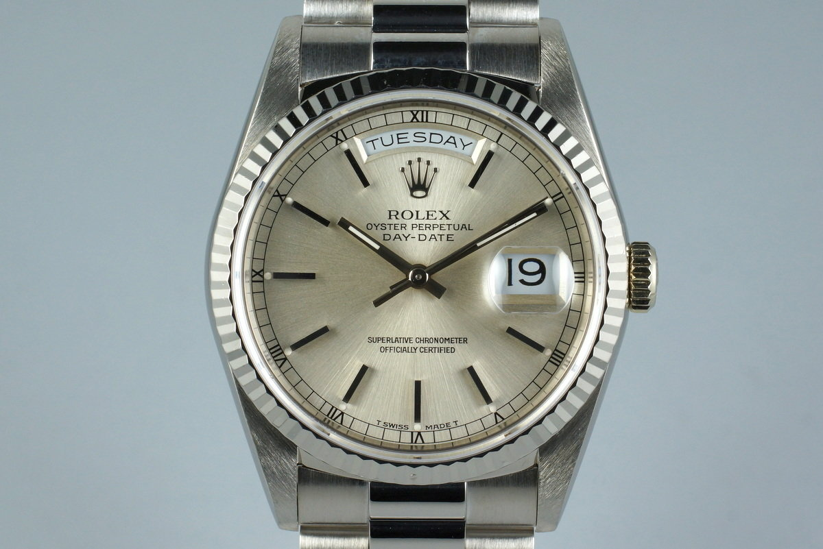 1990 Rolex WG Day-Date Ref: 18239 with White Roman Dial photo, #0