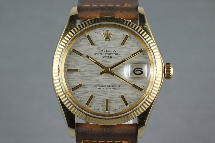 1973 Rolex 14K YG Date 1503 Linen Dial with Box and Papers photo
