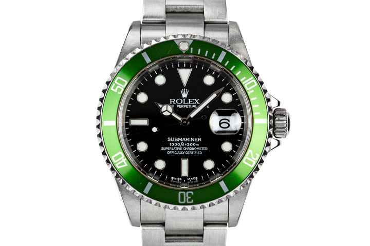 "2003 Rolex Green Anniversary Submariner 16610LV MK I Dial with Box and Papers ""Y serial"" photo"