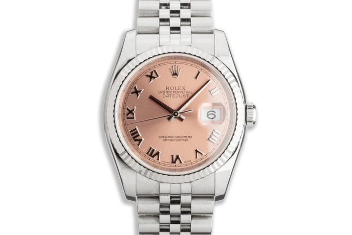 2006 Unpolished Rolex Datejust 116234 Pink Roman Numeral Dial w/ Papers photo